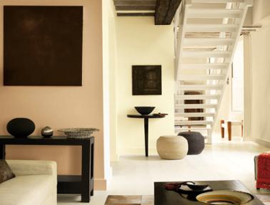 couleur peinture salon design. harmonie de couleurs lin, ivoire marron. Photo Peinture Dulux Valentine