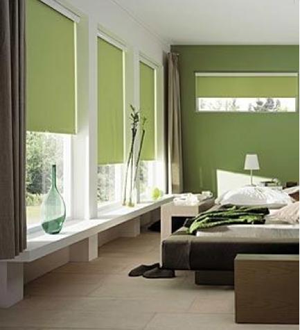 Dans la chambre une apaisante peinture vert olive, et une teinte vert sauge s'associent tout naturellement avec des meubles bois foncé et des tons naturels. Photo 4 Murs