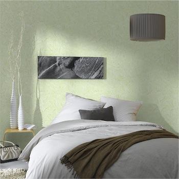 papier peint vinyle couleur vert dans chambre ambiance zen
