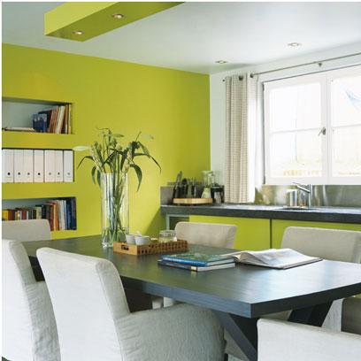 Meubles et peinture cuisine vert anis avec plan de travail granit gris assorti au plateau de la table. Autour de la table des fauteuils ancien habillés d'une housse de coton blanc faisant écho à la peinture du plafond et du cadre de la baie vitrée. Peinture V33