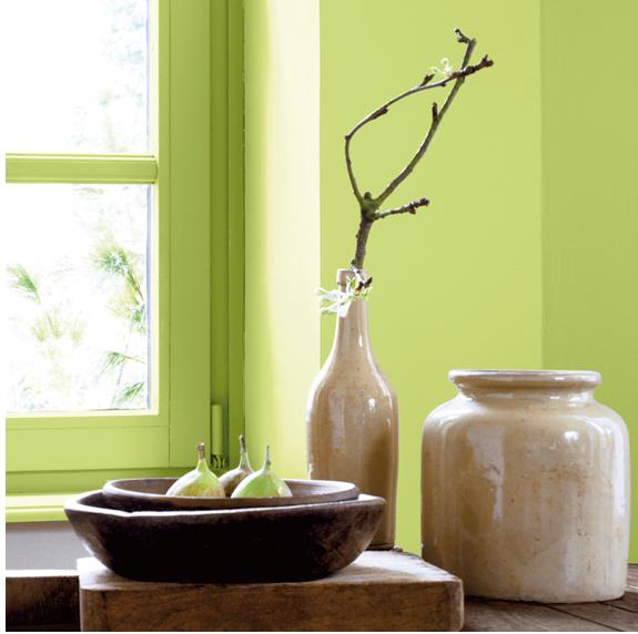 Le vert anisé amande, une teinte naturelle à la fois douce et dynamisante qui aime être marié avec des tons bois et terre. Photo peinture Ripolin
