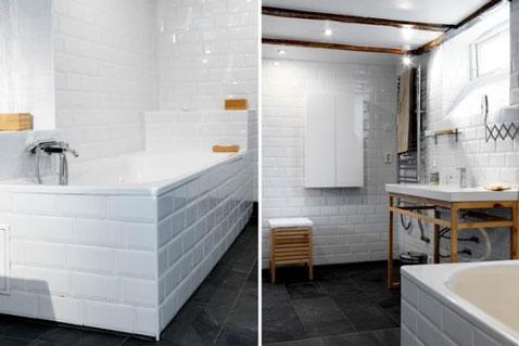 salle de bain carrelage mural blanc meubles de rangement en teck carrelage sol noir