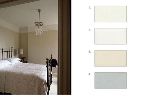 Pour la décoration de cette chambre ambiance zen, une belle harmonie de blanc grisé choisie parmi les nuanciers peinture The little shop, les peinture Argile, Manganèse et Toile de Mayenne
