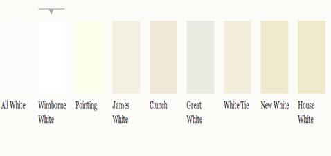 """Nuancier peinture blanche chez Farrow & Ball allant du blanc pur """" All White"""" au blanc cassé de gris avec """"Great White"""" au blanc cassé intense """"House White"""