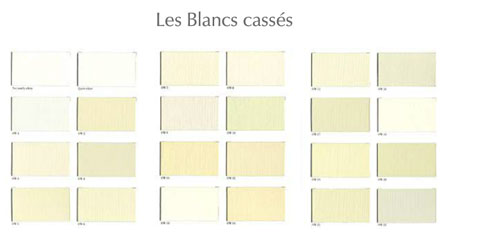 Carte des blancs cassés de chez Ressource. 24 teintes différentes exemple : Quiet White, Not tottaly whyte