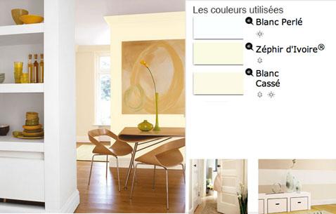 Pour une ambiance naturelle et fraiche, un dégradé de peinture blanche pour la décoration de cette salle à manger lumineuse.