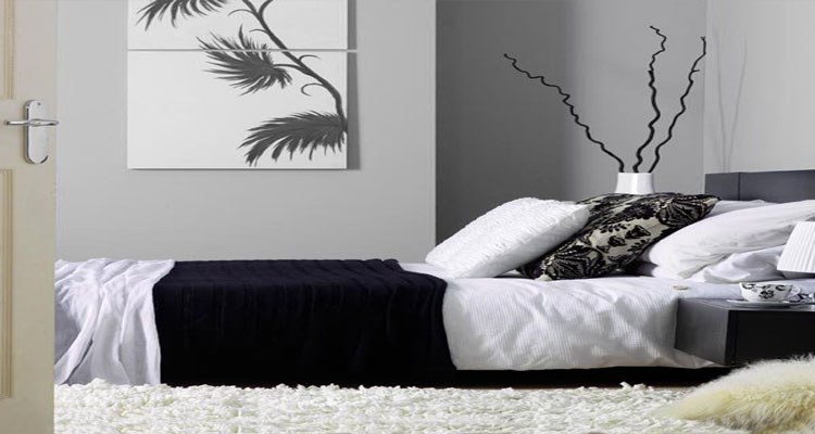 Idée décoration chambre en noir et blanc avec la couleur peinture, linge de lit, tapis et coussins pour une ambiance de chambre zen, moderne et cocooning.