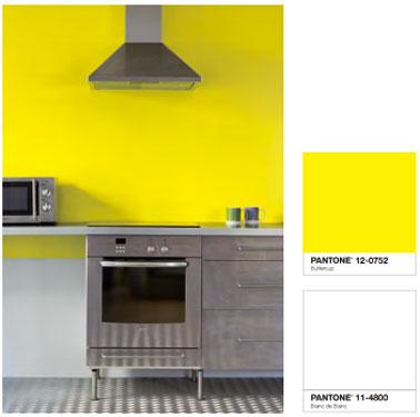 Couleur de peinture jaune primaire pour une cuisine très graphique que le gris des éléments de cuisine en inox contribue à dynamiser