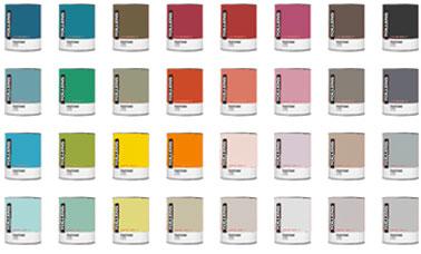 Nuancier couleur peinture de 40 teintes des peintures Tollens collection inspired by Pantone de Tollens