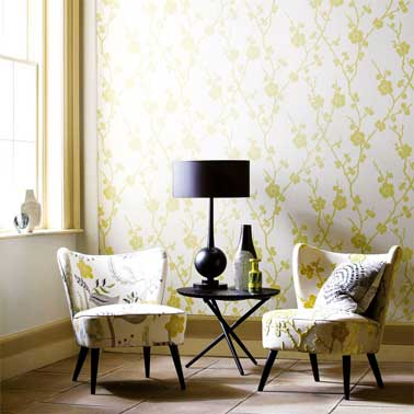 Papier Peint inspiré des tapisseries et tissus des années 50 collection Juniper Wallpapers Réf Blossom 75302, rouleau de 10m avec raccord de 63 cm Harlequin