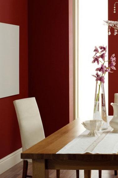 couleur salle à manger dans une harmonie de rouge vif et d'ivoire.