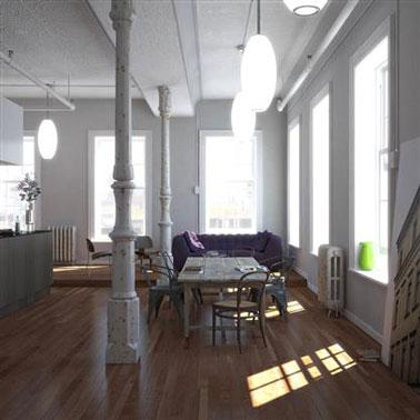 decoration salle à manger style loft. couleur peinture grise et blanche, parquet bois chêne moyen, table d'atelier et chaises dépareillées