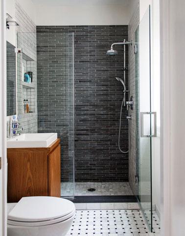 douche italienne dans petite salle de bain.Receveur douche extra plat. Paroi verre securit