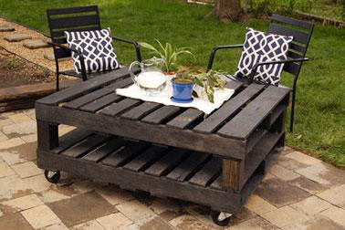 Complément indispensable au salon de jardin en palette, la table basse. celle-ci est faite de deux palettes superposées et montées sur roulettes