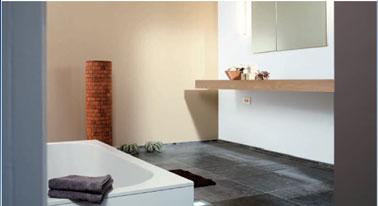 peinture salle de bain couleur lin et blanc. Collection Elégance chez Astral