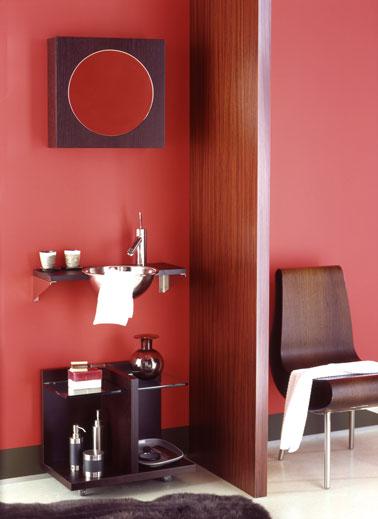 Peinture salle de bain. Peinture spéciale salle de bain couleur rouge cerise collection Elégance d'Astral