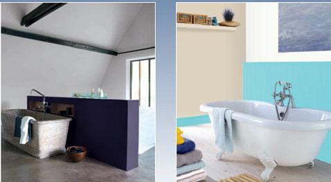 Peinture salle de bain. Peinture couleur violet et blanc, et bleu et lin peinture Astral gamme Expression