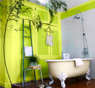 Peinture mur salle de bain couleur Anis et Absinthe. Gamme esprit déco de Ripolin
