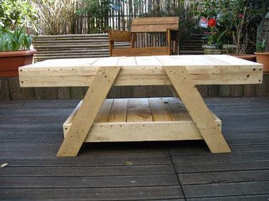 Table de salon de jardin faite à partir de palettes bois. Une fois les palettes assemblées elles sont poncées puis peintes avec une lasure de couleur naturelle