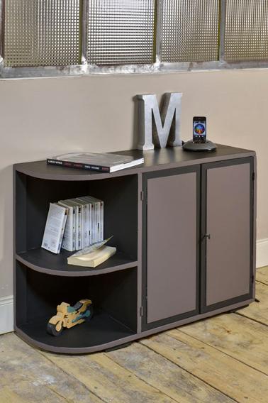 peindre un meuble en bois avec peinture meuble effet cuir couleur taupe et noir Peinture Libéron
