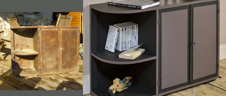 peindre un meuble en bois ciré avec peinture effet cuir Liberon