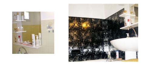 relooking salle de bain avec carrelage adhésif Métal déco, carreaux de métal noir et argent finition brillante