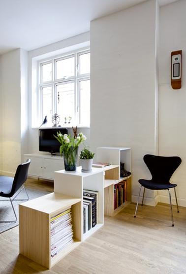 caissons bois pour rangement livres et séparation basse entre salon et salle à manger