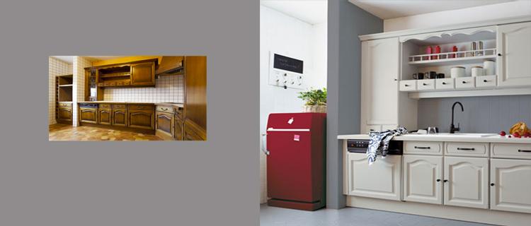 Rénovation Cuisine facile avec V33, la peinture meuble cuisine, carrelage mur et sol réunit dans une même gamme. Une bonne astuce pour coordonner les couleurs entre les différents supports à repeindre dans la cuisine