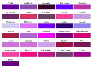 Nuancier peinture pour chambre couleurs violet.  Du parme au violet intense en passant par le prune, 31 couleurs peinture pour la déco de la chambre