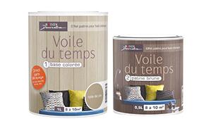 Peinture pour peindre du lambris, deux composants : Base colorée et patine blanche ou brune pour support vernis sans poncer Voile du temps de Maison Déco.
