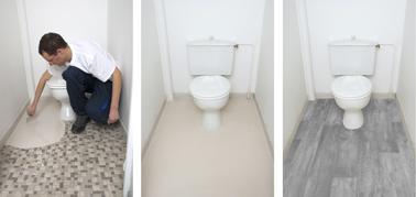 Ragréage autolissant prêt à l'emploi dans wc avant pose parquet flottant