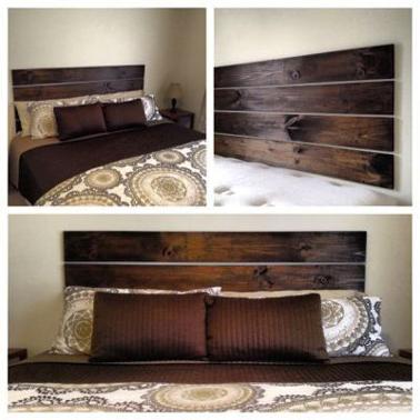 Tête de lit en bois à faire soi-même avec 4 planches de pin qui se fixent au mur sans perçage
