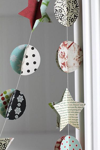 Guirlande de Noël à réaliser avec des chutes de papier peint ou du papier journal