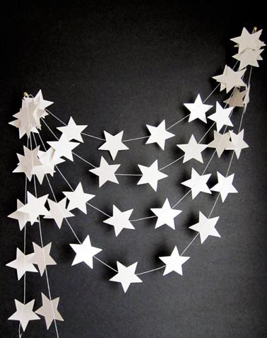 Pour la déco du mur ou du sapin de Noël, Une guirlande de Noël à réaliser soi-même avec des étoiles découpées dans du carton blanc et collées sur du fil de nylon ou de la laine blanche