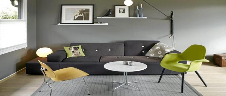 Pour une déco de salon gris, conseils et idées peinture, choix du canapé et des couleurs pour les accessoires déco