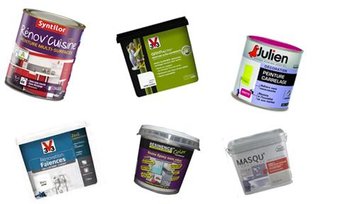 Le top des marques de peinture carrelage : Syntilor, GripActiv' V33, Julien, Rénovation Faïence V33, Résinence, Masqu'Carrelage Maison Déco. Photo : © AD