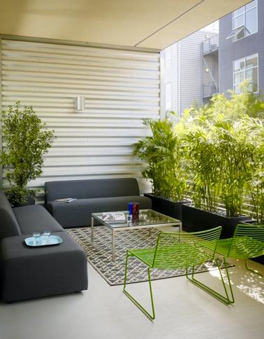 Design et sobriété pour une terrasse en ville en gris et vert