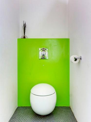 Peinture wc vert flashy sur muret derrière cuvette design pour réveiller les murs blanc et augmenter l'impression de largeur dans des toilettes étroites