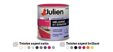 Peinture meuble cuisine stratifié ou mélaminé à appliquer directement sur les meubles. Nuancier 16 couleurs, satin et brillant. Peinture Julien