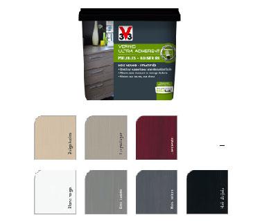 Grâce à un film semi-opacifiant cette peinture meuble de cuisine fonctionne comme un vernis et s'applique directement sans décapage sur le meuble. Disponible en 7 couleurs cette peinture V33 garantit une adhérence et un tendu parfait.
