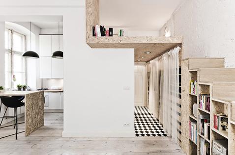 plan en coupe de la chambre en mezzanine construite pour optimiser espace dans studio