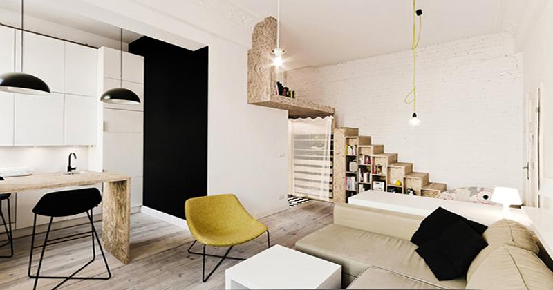 Une idée déco pour aménager un studio ou petit appartement en optimisant tout l'espace. Les 29 M2 sont réservés à l'espace jour avec une cuisine ouverte.