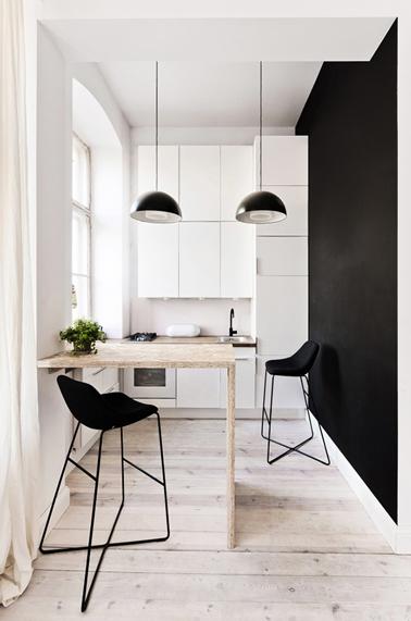 cuisine aménagée dans studio avec meubles blanc installés sur toute la hauteur du mur
