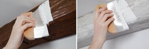 Appliquer le badigeon directement sur les poutres en bois sans poncer ni décaper. Deux couches aspect blanc ou bois grisé Libéron