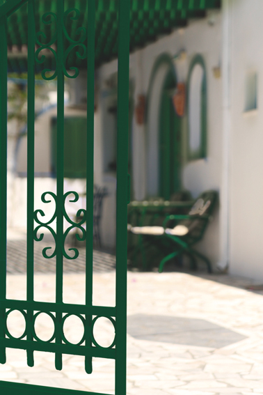 Portail et meubles de jardin en fer repeints avec Diamant Fer V33 couleur vert Véranda direct sur rouille sans sous-couche