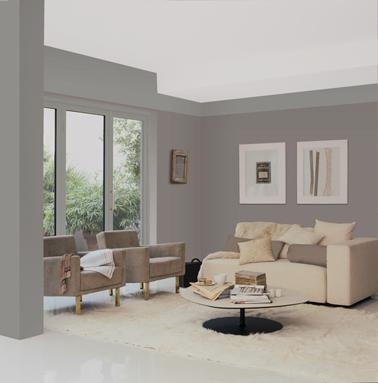 Peinture salon couleur Gris Flanelle pour le bandeau haut des murs, et couleur Thé Fumé sur le poteau et les murs. Gamme Le Mat Photo Dulux Valentine