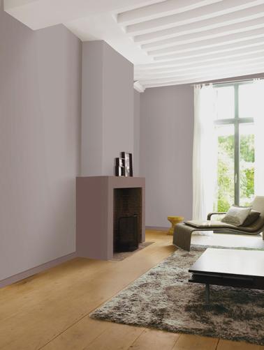 idée déco salon avec peinture couleur Taupe Poudré pour les murs et la couleur Santal Boisé pour peindre le coffrage de la cheminée. Peinture Le Mat Dulux Valentine