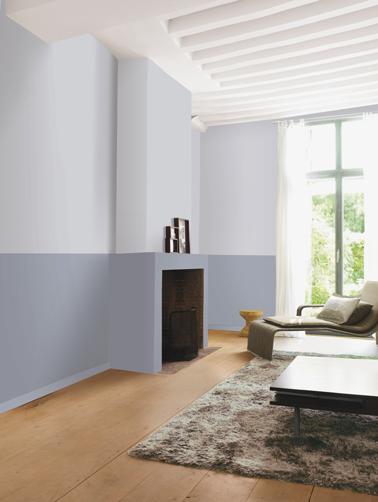 Deux couleurs de peinture grise pour la déco d'un salon sobre et élégant : pour le soubassement peinture Gris Charme, haut des murs couleur Gris Flocon de la gamme Le Mat Dulux Valentine