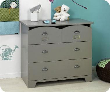 Idée déco avec du gris dans chambre enfant. Peindre une commode gris satin Farrow & Ball dans chambre d'enfant fille ou garçon
