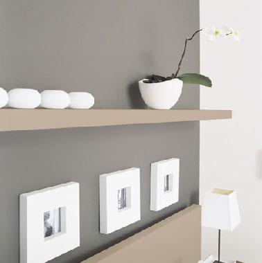 Association de peinture grise avec une couleur taupe et du blanc pour une deco zen Peinture V33